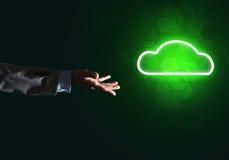 Digital-Wolkenikone als Symbol der drahtlosen Verbindung auf dunklem Hintergrund Lizenzfreies Stockbild