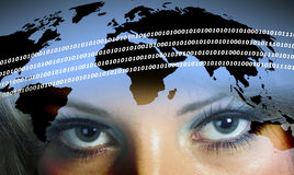 Digital woman. Business woman's eyes overlaid onto world map outline Stock Images