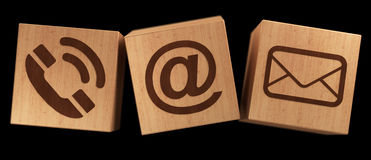 Digital wooden cube contact icon 3D rendering Royalty Free Stock Photos