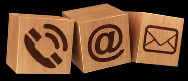 Digital wooden cube contact icon 3D rendering Stock Images