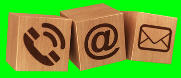 Digital wooden cube contact icon 3D rendering Royalty Free Stock Image