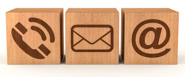 Digital wooden cube contact icon 3D rendering Stock Photo