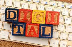 Digital words block on Keyboard closeup Marketing concept stock photo