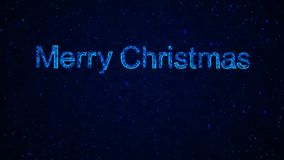 Digital 2019 words from graphic elements on a information technology blue background. Holiday animated virtual digital background. Merry christmas 2019 words stock illustration