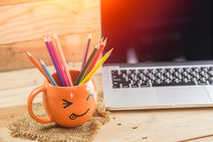 Digital working creative idea happy with idea digital artist concept. Royalty Free Stock Photography