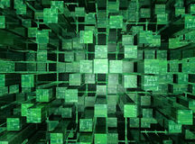 Digital World. 3D illustrated abstract background, featuring cubic reflective surfaces and circuitry Stock Photography