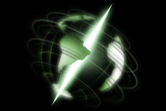 Digital world. Green, abstract, digital world with shine axis on black background Stock Photo