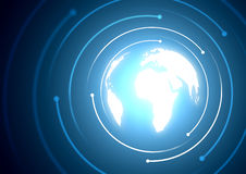 Digital World. A glowing globe with spirals Stock Image