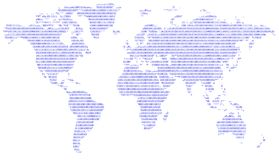 Digital world. Blue binary digital world map Royalty Free Stock Photos