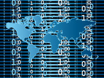 Digital world. Digital information passing around the world in binary form Stock Images