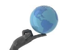 Digital world. Blue globe on forefinger. Isolated Royalty Free Stock Photography