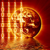 Digital world. With integrated bits and bytes Stock Image
