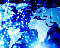 Digital world. With beautiful blue fibre optics Royalty Free Stock Photography