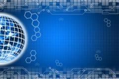 Digital world background. Blue Digital world pattern background Stock Image