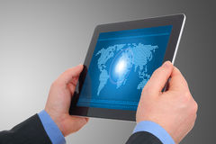 Digital world concept on tablet Royalty Free Stock Image