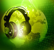Digital world  with headphones Royalty Free Stock Photos