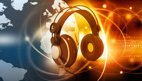 Digital world with headphones Royalty Free Stock Photo