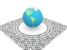 Digital world. Illustration of digital world with colorful globe showing north and south America, surrounded by a sheet of zeros and ones, white background Stock Images