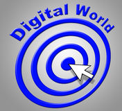 Digital World Indicates High Tec And Computer. Digital World Representing Globe Worldly And Globalisation Royalty Free Stock Photo