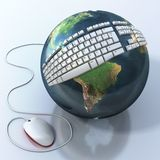Digital world. Keyboard on Earth. Elements of this image are furnished by NASA Stock Photography