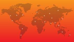 Digital World map. On orange background Stock Image