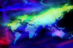 Digital world map Stock Photos