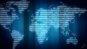 Digital world map background stock footage