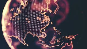 Digital World Map Background Made in Computer Graphics. Digital Abstract World Map Background, Cryptocurrency, Internet of Things, Big Data, Network Connections Stock Image