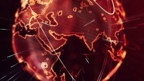 Digital World Map Background Made in Computer Graphics. Digital Abstract World Map Background, Cryptocurrency, Internet of Things, Big Data, Network Connections Royalty Free Stock Image