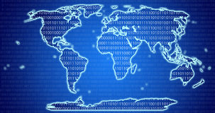 Digital World Map with binary code blue background Royalty Free Stock Image