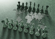 Digital world map chess board with chess play Royalty Free Stock Photography