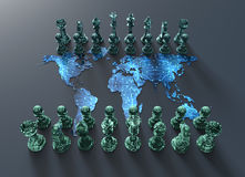 Digital world map chess board with chess play Royalty Free Stock Photo