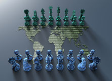 Digital world map chess board with chess play. Symbol of electronic fighting, digital chess board out of the world map with chess play Stock Photography