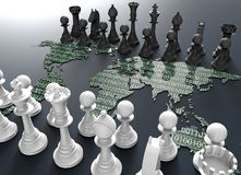Digital world map chess board with chess play. Symbol of electronic fighting, digital chess board out of the world map with chess play Royalty Free Stock Image