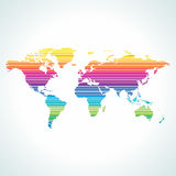 Digital world map design with stripe pattern. Royalty Free Stock Photography