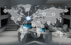 Digital world map floating in office 3D rendering Royalty Free Stock Images