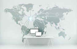 Digital world map floating in office 3D rendering Stock Photo