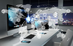 Digital world map floating in office 3D rendering Stock Images
