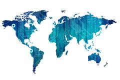 Digital world map Stock Images
