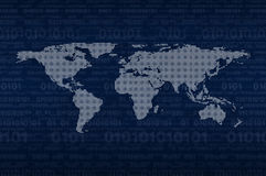 Digital world map over binary code blue background, Elements of Stock Image