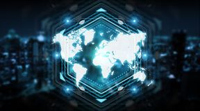 Digital world map screen interface 3D rendering. Digital world map screen interface isolated on blue background 3D rendering Royalty Free Stock Photography
