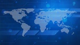 Digital world map technology style Stock Photos
