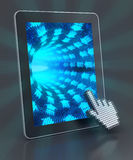 Into the digital world. Tablet with digital tunnel formed by binary code, 3d render Royalty Free Stock Photography