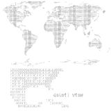 Digital world (vector). Map of the world - binary code - 0 and 1 Stock Photography