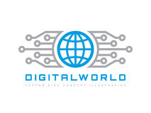Digital world - vector business logo template concept illustration. Globe abstract sign and electronic network. Technology design. Stock Photography
