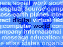 Digital World Words On Map Showing Global Internet Or Worldwide Stock Image