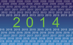 2014 digital year. Illustration of years from 2008 to 2014 and so on to 2020. Concept of year 2014 as the digital year Stock Illustration
