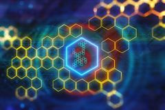 Digital yellow hexagon background. Creative glowing digital yellow hexagon background. Science and design concept. 3D Rendering Stock Illustration