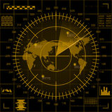 Digital yellow radar screen with world map, targets and futuristic user interface on black background Stock Images