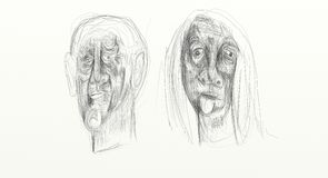 Digital-Zeichnung im Breitbildbildschirmformat, bildliche, unbedeutende, empfindlichem und fasten, die menschlichen Gesichter, di Stockfoto